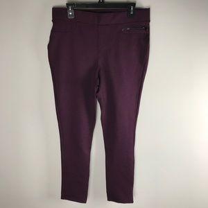 DKNY JEANS purple ponte moto skinny pants L